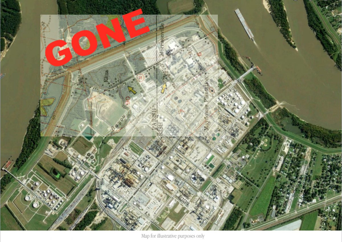 Map overlay showing former location of Morrisonville now covered by Dow chemical.